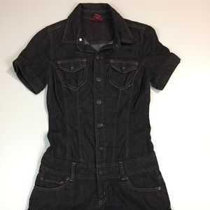 GUESS Jeans Dark Wash Button Denim Romper
